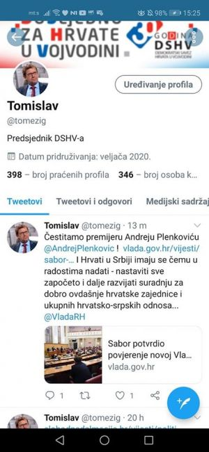 Predsjednik Demokratskog saveza Hrvata u Vojvodini Tomislav Žigmanov čestitao je danas putem svojega službenog Tweeter naloga predsjedniku Vlade Republike Hrvatske Andreju Plenkoviću na izboru!