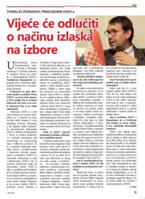 """Razgovor sa predsjednikom DSHV-a Tomislavom Žigmanov u novom broju tjednika """"Hrvatska Riječ"""""""
