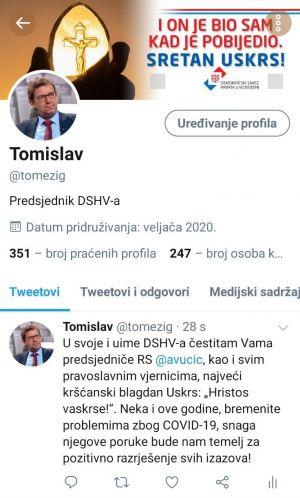 """Predsjednik DSHV-a čestitao """"Vaskrs"""" nositeljima vlasti u Republici Srbiji"""