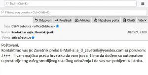 Predsjednik Žigmanov prijavio MUP-u najnoviju prijetnju jezivog sadržaja dobivenu na službenu e-mail adresu DSHV-a
